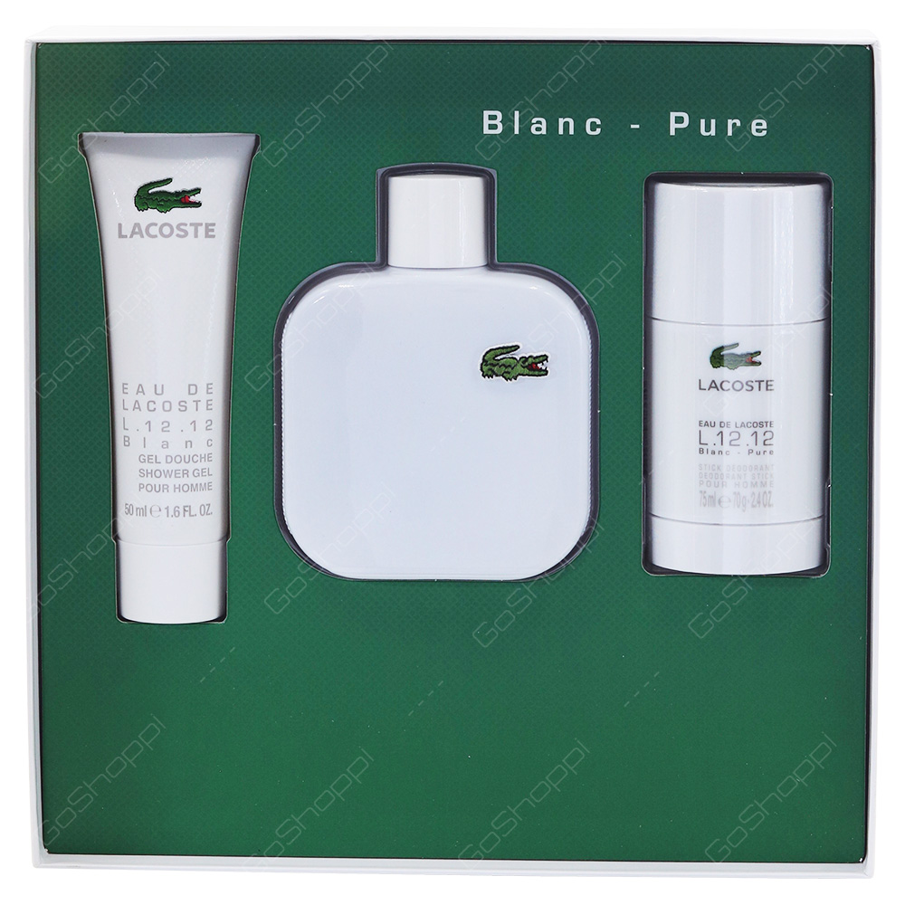 Lacoste Blanc Pure For Him Gift Pack Eau De Toilette 100ml Shower Gel 50ml