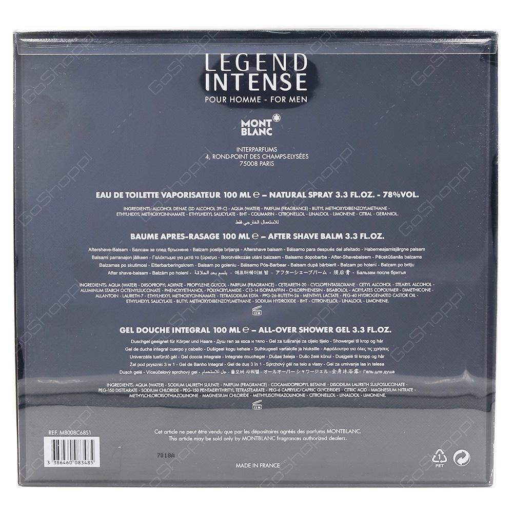 Mont Blanc Legend Intense Gift Pack For Men Eau De Toilette 100ml After Shave Balm 100ml Shower Gel 100ml