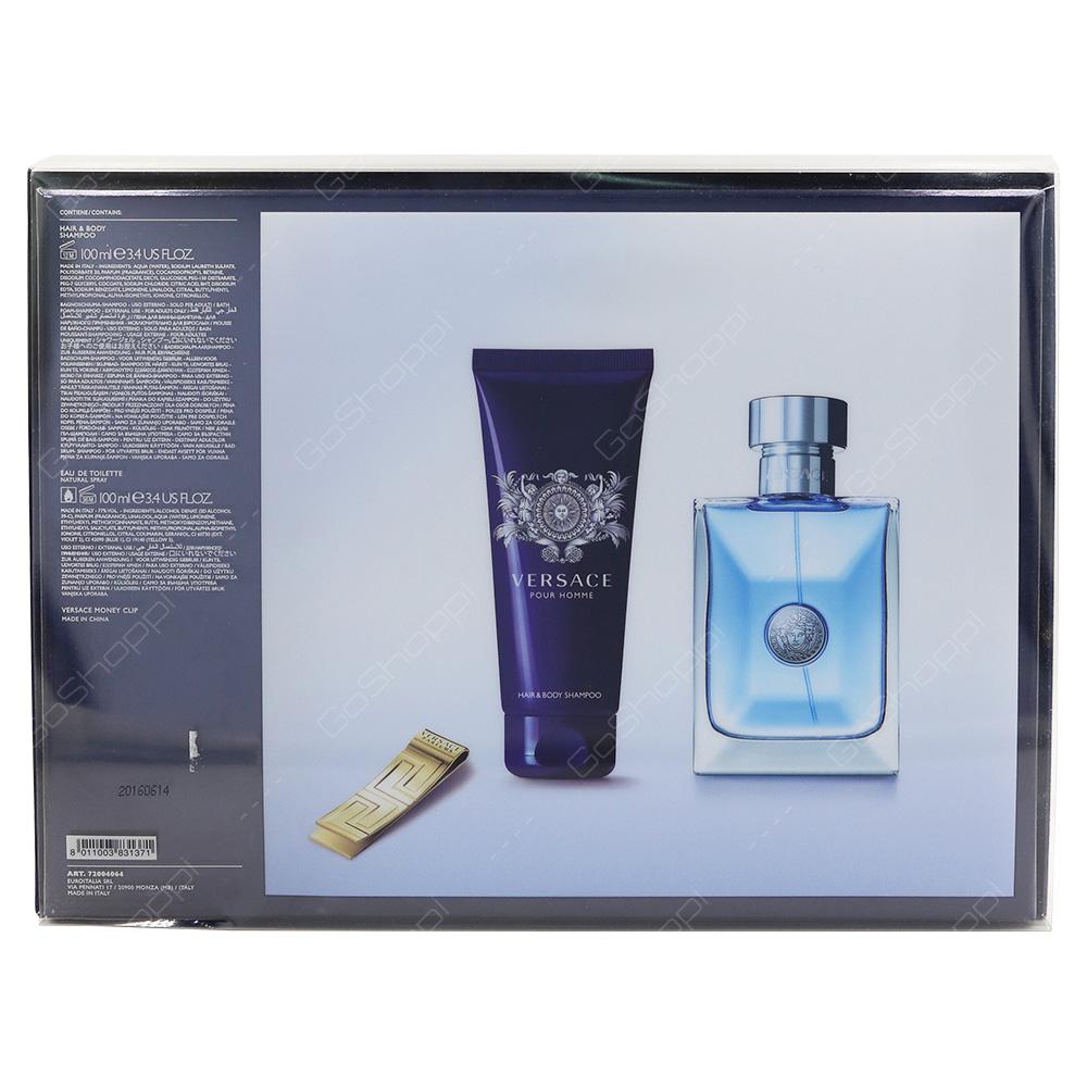 Versace Pour Homme Gift Set Eau De Toilette 100ml Hair And Body Shampoo 100ml